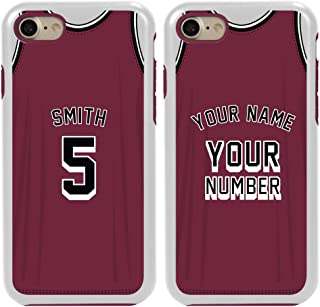 Custom Basketball Jersey Cases for iPhone 7/8/SE by Guard Dog – Personalized Sports – Your Name and Number on a Protective Hybrid Phone Case. (White, Maroon)