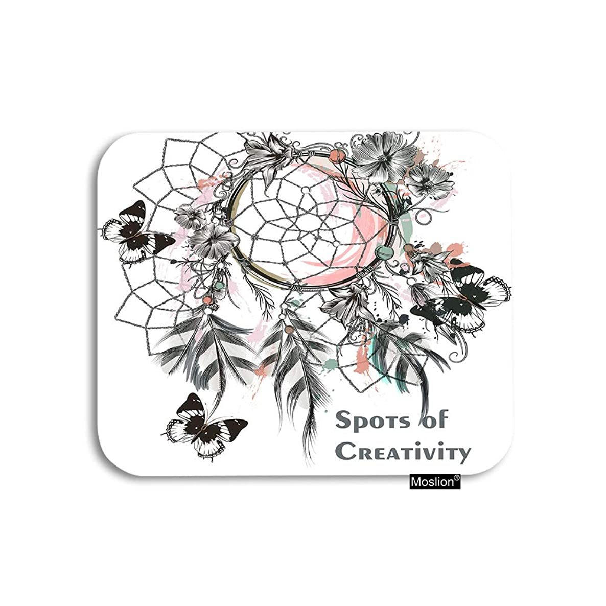 Moslion Dream Catcher Mouse Pad Vintage Aztec Bohemian Net with Flower Leaf Feather Butterfly Gaming Mouse Pad Rubber Large Mousepad for Computer Desk Laptop Office Work 7.9x9.5 Inch
