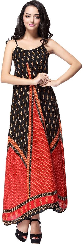 MFrannie Women's Vintage Round Neck Ethnic Printed Strap Red Maxi Dress