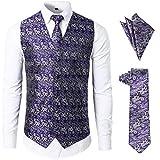 JOGAL Men's 3pc Paisley Vest NeckTie Pocket Square Set For Suit or Tuxedo Large SV08 PurpleSilver