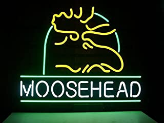 Urby™ Moosehead Lager Real Glass Neon Light Sign Home Beer Bar Pub Recreation Room Game Room Windows Garage Wall Sign 18''x14'' A11-10