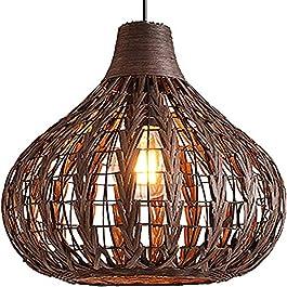 Lustre en bambou tressé à la main en rotin – Suspension en osier – 35 cm de diamètre – 12 W – 2700 K – Ampoule en maïs…