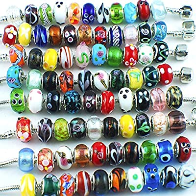 Silver Color Murano Glass Beads Fit European Charm Bracelet Spacer by eART 50pcs Mix