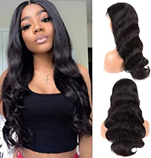 Vogeen Body Wave 360 Lace Frontal Wig Pre Plucked with Baby Hair 360 Lace Front Human Hair Wigs For Black Woman 150% Density Brazilian Virgin Hair Wigs Natural Color