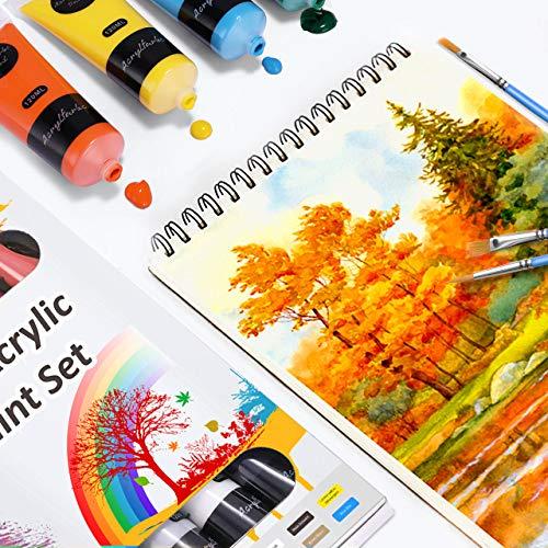 Pinturas Acrílicas, 13 Conjunto de Prima Caja de Pintura Acrílica Incluso 10 x 120 ml de Pigmento Acrílico + 3 Pincel-No tóxico & Colores Vibrantes Pintura Acrilica para Papel, Roca, Madera, Cerámica
