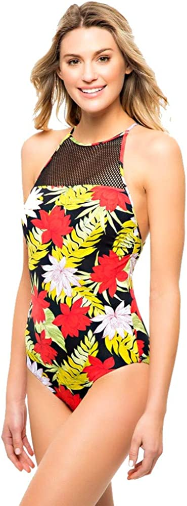 Women's Floral Mesh High High quality Neck Back One Detailed Piece Sale item Swimsuit