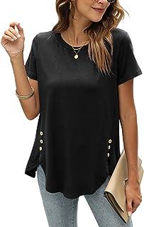 Women's Short Sleeve Summer Tunic Tops Loose Blouse...