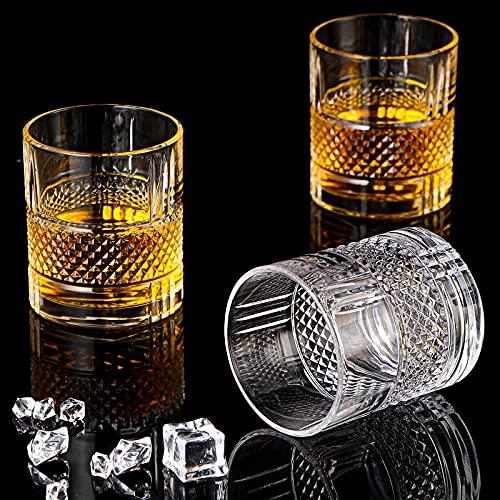 Vasos de whisky, juego de 6 vasos de whisky, regalo de whisky para hombres amantes de whisky, cristalería de estilo para copas de whisky de Bourbon Rocks, copas de whisky de barra