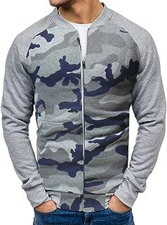 Mens Casual Long Sleeve Pocket Slim Fit Camouflage Full Zip Bomber Jacket