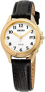 Seiko SUT254 Core Black Leather strap Band White Dial Watch