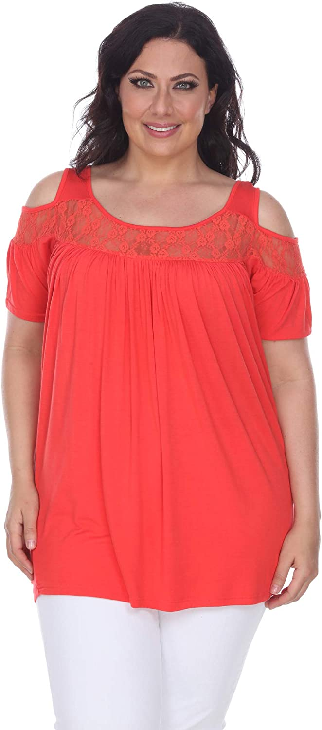 white mark Bexley Lace Cut-Out Tunic Top