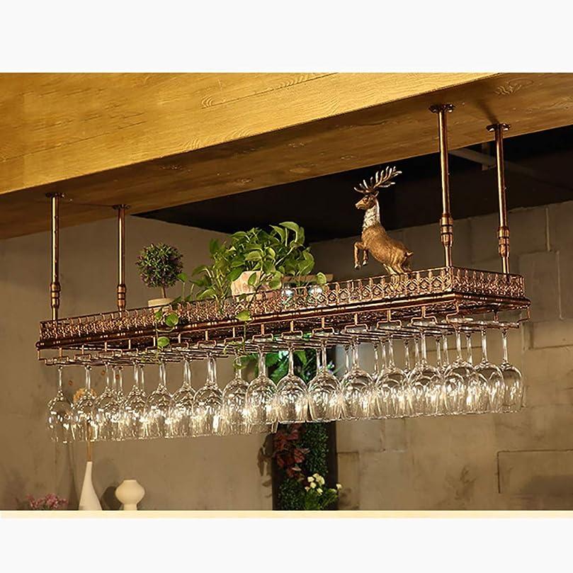 インレイ緩むめまいがワインラックワインラック ぶら下げ鉄ワインカップホルダー逆さ吊りロッド格納式家庭用ゴブレットラックバーテーブルシンプルぶら下げぶどうワインラックラックワインラック(オプション60 cm?120 cm) ワインラックワインラック (色 : ブロンズ, サイズ さいず : 100cm)