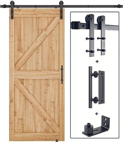 2021 SMARTSTANDARD 6.6ft Heavy Duty Sturdy Sliding Barn Door Hardware Kit(I-Shape) +Barn popular Door online Handle +Adjustable Floor Guide Roller online