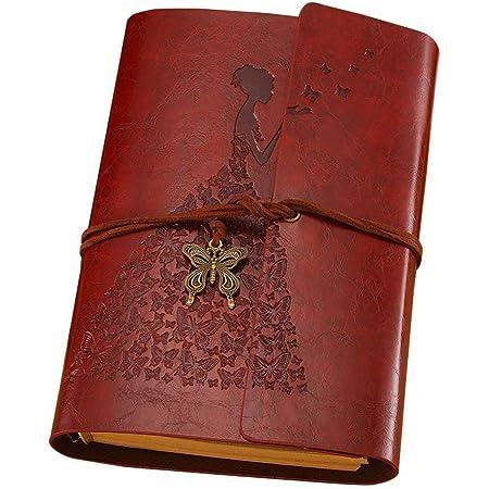 MaleDen - Diario in pelle, stile vintage, con rilegatura a spirale, ricaricabile, diario di viaggio con pagine vuote, utilizzabile come blocco per schizzi, idea regalo per donne e ragazze, Marrone, A6