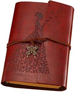 Leather Journal, MaleDen Vintage Spiral Bound Notebook Refillable Dairy Sketchbook Travel Journal to Write in with Blank Pages for Women Girls Gifts (A6, Red Brown)