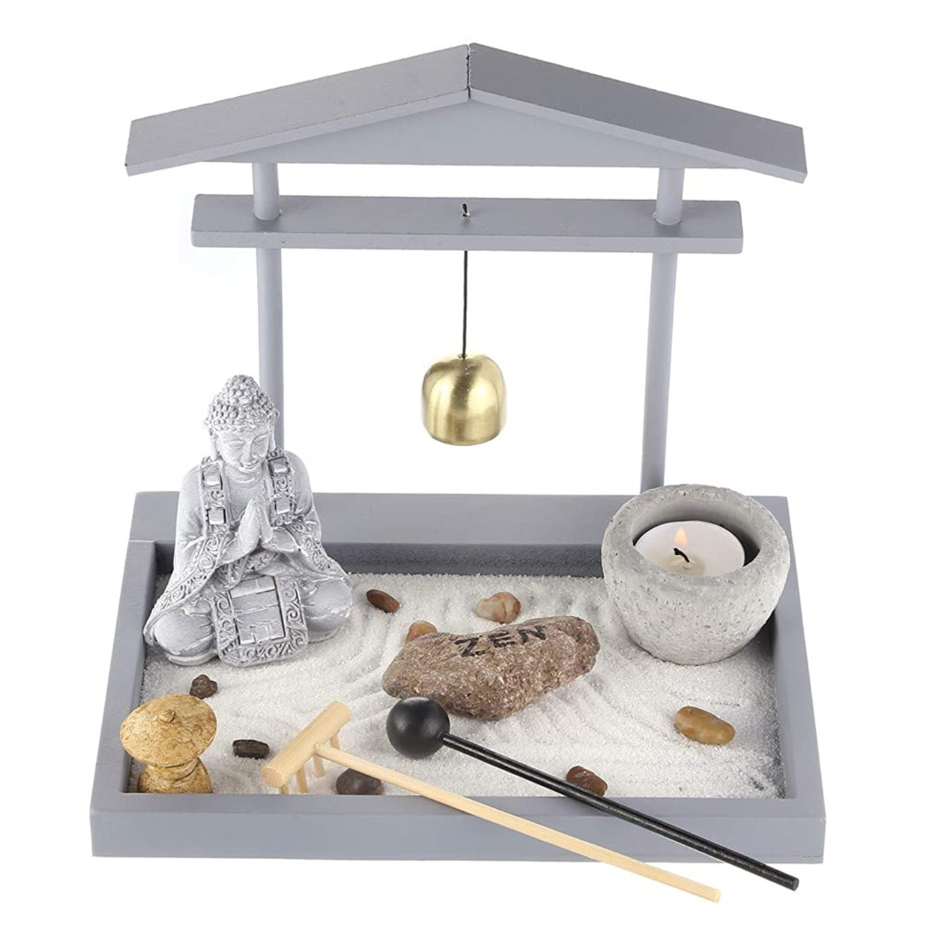 Prime Feng Shui Zen Garden Buddha Figures Mini Bell Archway Garden Kit with Sand Rocks Rake Tower Candle Holder Best Gift(Grey)