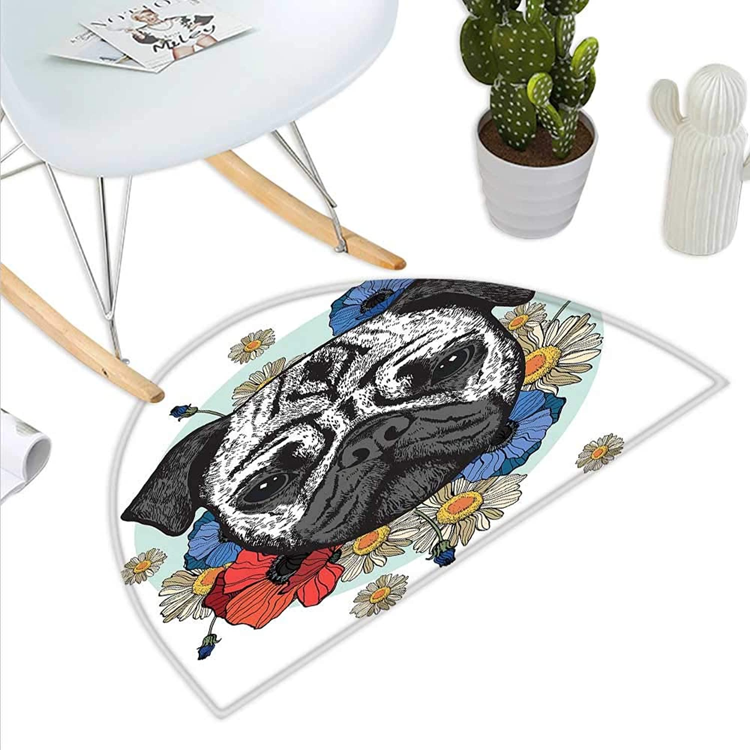 Pug Semicircle Doormat Black and White Head of a Pug on Floral Arrangement with Beautiful Flowers Daisies Halfmoon doormats H 43.3  xD 64.9  Red bluee Black