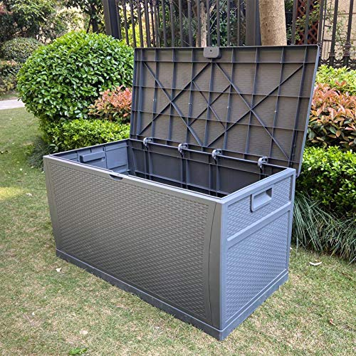 SA Products 460L Weatherproof Rattan Weave Effect Plastic Garden Storage Box XL Capacity - Suitable for Indoor & Outdoor Use - Ideal for Furniture Cushion, Parcels Tools Toys Shed Overflow (Dark Grey)