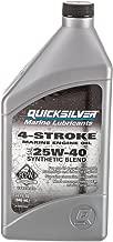 Quicksilver 8M0078622 FC-W 4-Stroke Synthetic Blend 25W-40 Marine Engine Oil, 1-Quart