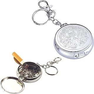 Hihamer Mini Cenicero de Bolsillo Cenicero Portatil de Acero Inoxidable para Viajar, Anilla Llavero, Soporte Cigarro de Color Plateado para Llavero