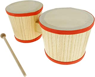 simhoa Durable Wood Bongo Hand Drum 4inch+5inch for Kids Baby Musical Toys Gift