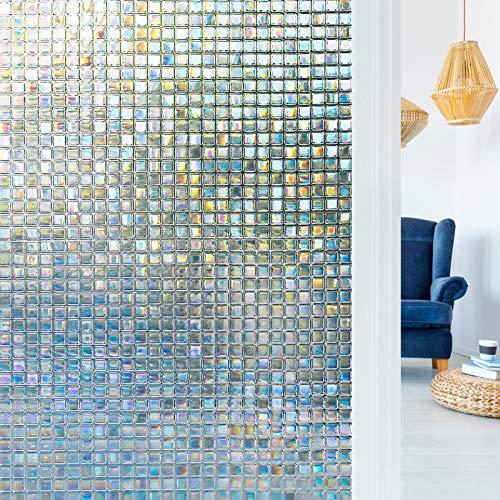 rabbitgoo Fensterfolie 3D Sichtschutzfolie Fenster Statisch Folie Selbsthaftend Privatsphäre Dekofolie Anti-UV für Zuhause oder Büro 90 x 200 cm