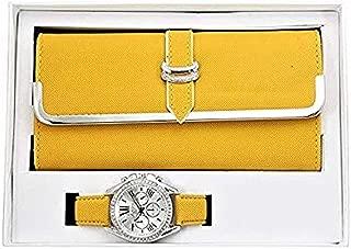 Women's Matching Watch & Wallet - Yellow