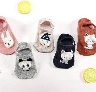 ZHANGNUO, 10 Piezas = 5 Pares Cute Cartoon Cat Boat Calcetines Mujeres Verano Primavera Moda Salvaje Boca Baja Calcetines Invisibles Tobillo Calcetines Divertidos Beige