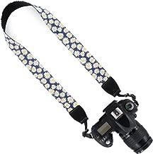 Wolven Pattern Canvas Camera Neck Shoulder Strap Belt Compatible for All DSLR/SLR/Men/Women etc, Small Yellow Flower Floral