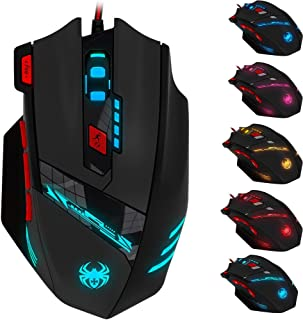 Zelotes T90 9200 DPI Professional High Precision USB Wired Gaming Mouse,8 Buttons, Weight Tuning Set, (Black)