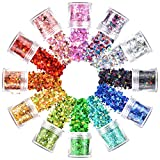 Warmfits Holographic Face Glitter 12 Colors Total 120g Face Body Eye Hair Nail Festival Chunky Holographic Glitters Different Shapes Stars Hexagons Heart Circle