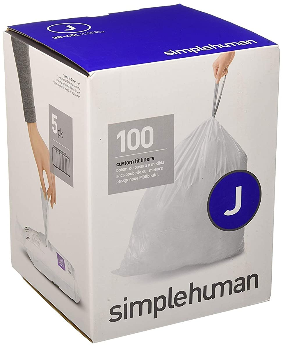 simplehuman Code J Custom Fit Drawstring Trash Bags, 30-45 Liter / 8-12 Gallon, 100-Count Box