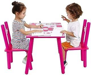 EBTOOLS - Juego de mesa y silla para niños, de madera, para estudiar, para jugar y pintar, para jugar a juego de mesa...