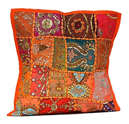Sophia Art Un Indien Ethnique Broderie Paillettes Patchwork Sol Taie d'oreiller Couvre-lit Housse de Coussin (Orange)