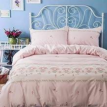 طقم أغطية لحاف من 3 قطع من HOLY HOME هدية عيد ميلاد ابنتي، أميرة اللحن الوردي، أغطية سرير من القطن 100% (الملكة)
