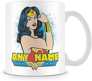 Taza de café, personalizable con nombre de Wonder Woman Superhéroe, taza de café de cerámica, 11 onzas, color blanco