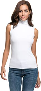 Nasperee Women Sleeveless Mock Turtleneck Solid/Striped RibbedStretchKnit Tee Shirt Tank Tops