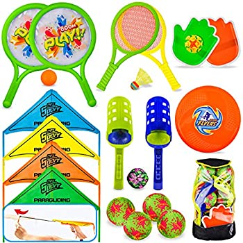 8 in 1 Outdoor Sports Toy Backpack Set Including Scoop Ball Ball Toss Bag Pickleball Racket & Badminton Parachute Glider Flying Disc Hand Paddle game Toss and catch Outdoor Play Games for Kids