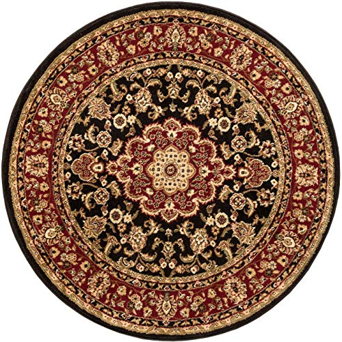 Noble Medallion Black Persian Floral Oriental Formal Traditional 4 Round (3'11') Area Rug Easy to Clean Stain Fade Resistant Shed Free Modern Contemporary Transitional Soft Living Dining Room Rug