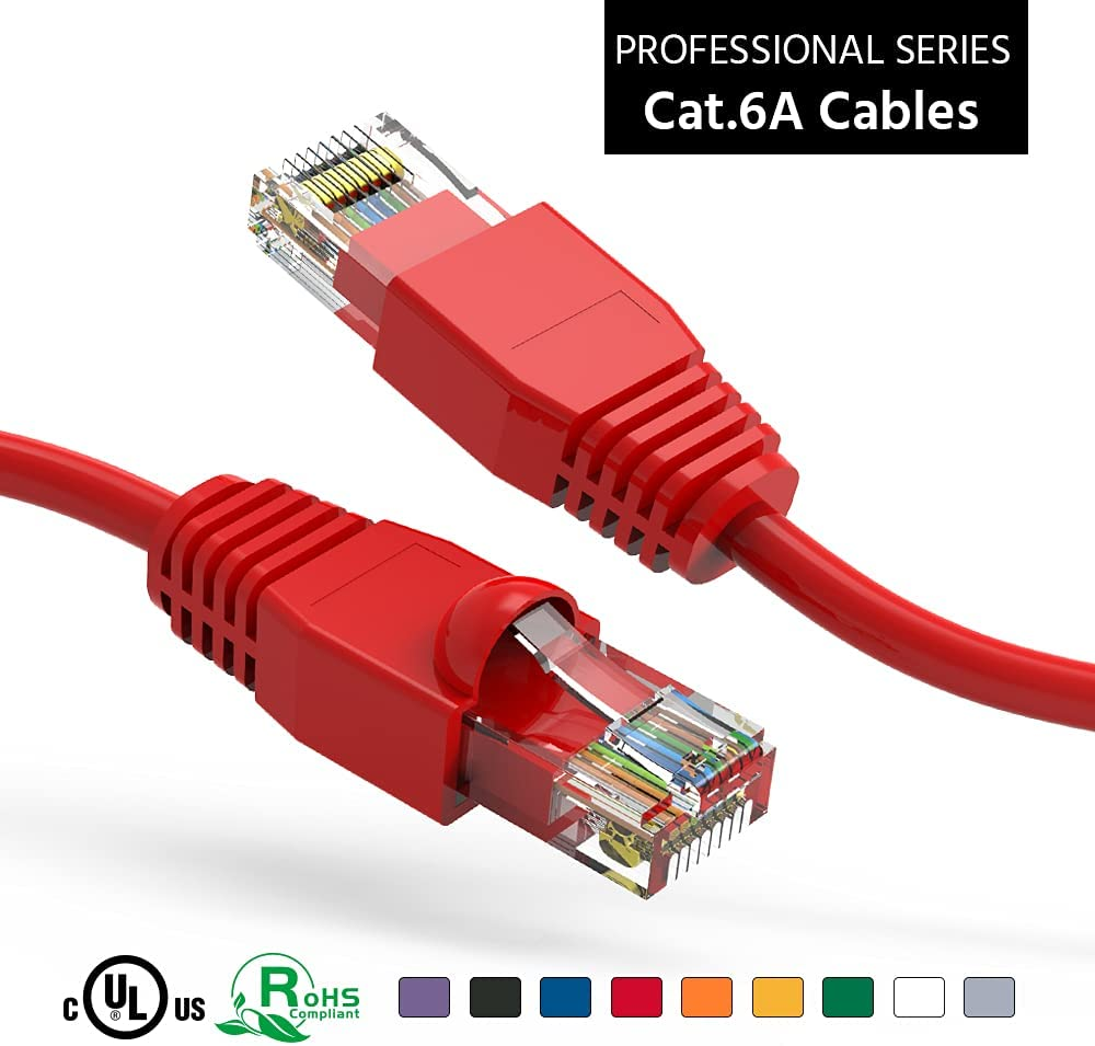 ACCL 3Ft Cat6A UTP Ethernet Max 61% OFF Network Cable Pack Booted OFFicial store 5 Red