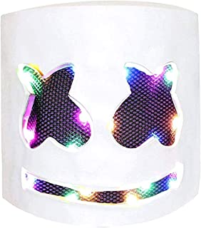 Dj Helmet DIY Mask Scary EVA Full Head Cover Mask Cosplay Costume Party Bar Music Props Wire for Halloween Festival Party Smiling face White