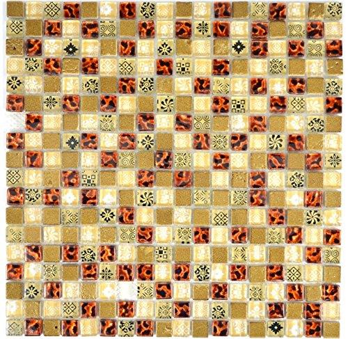 Traslucido beige Tessere di mosaico Resina di cristallo vetro rosso