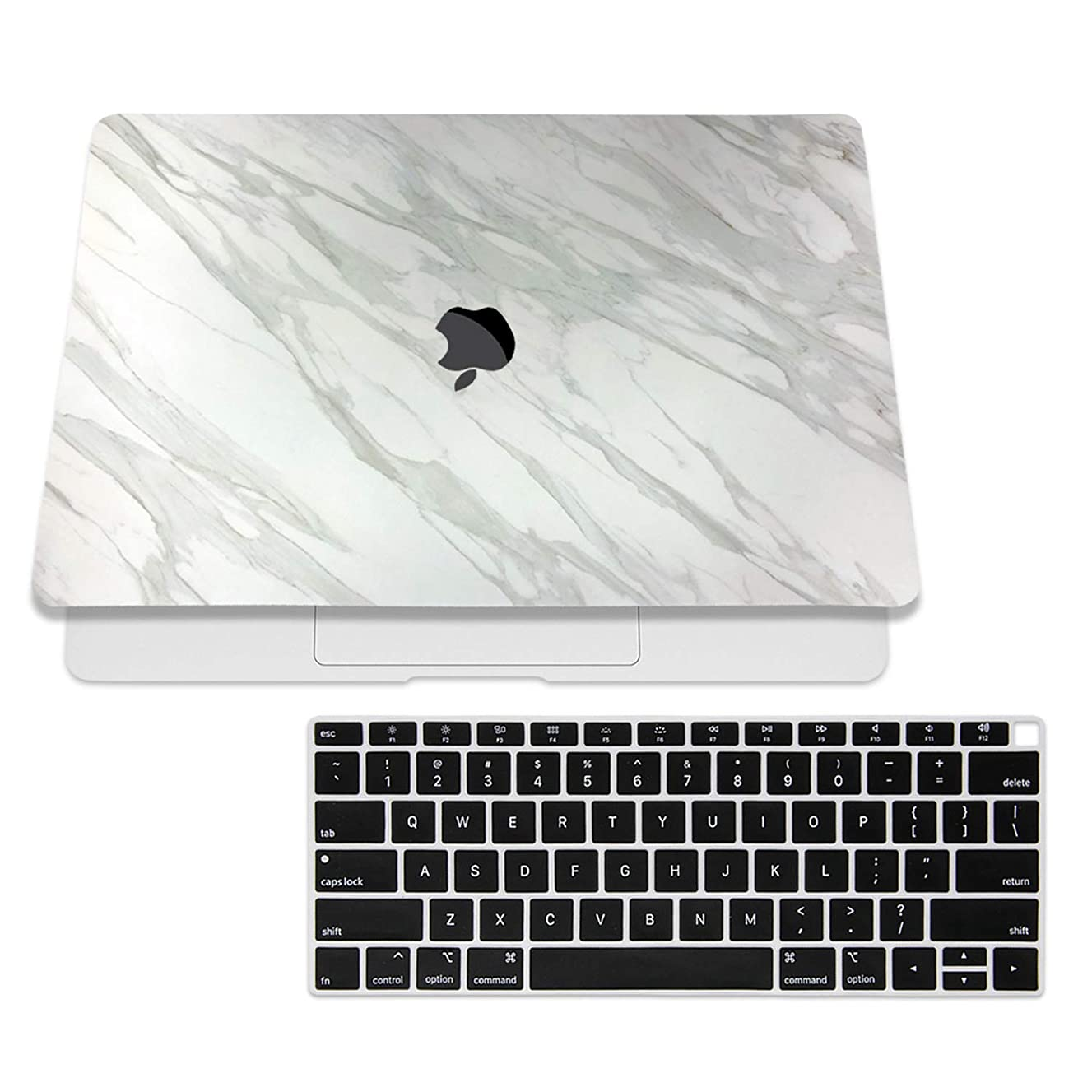 SOJITEK White Marbled Design Texture Skin Decal Sticker for 2018 MacBook Air 13 Inch A1932 Model with Touch ID & Includes Black Keyboard Cover