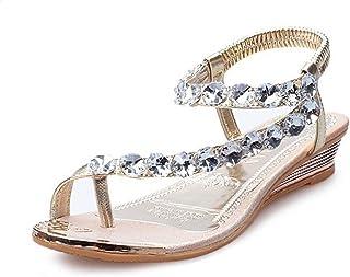 Sumen Woman Summer Flat Sandals Rhinestone Platform Wedges Shoes Beach Shoes 6c3f7a1ed1a7