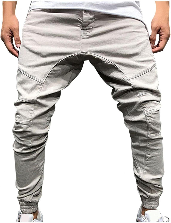 Huangse Mens Fashion Casual Cargo Pants Multi Pockets Workout Athletic Sport Gym Pants Zipper Sweatpants Trousers