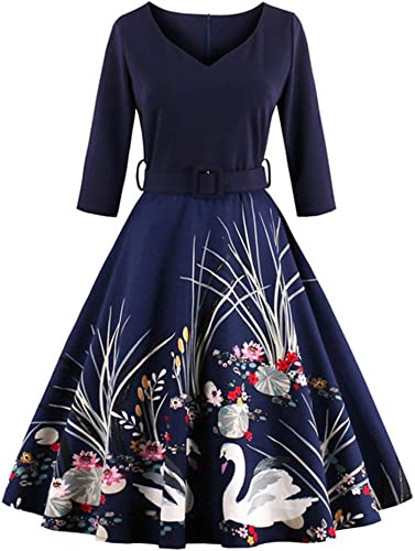 Nfgumnos Grande Empreinte Robe Robe rétro, des Empreintes, v, col, big Swing Robe,Bleu foncé,s