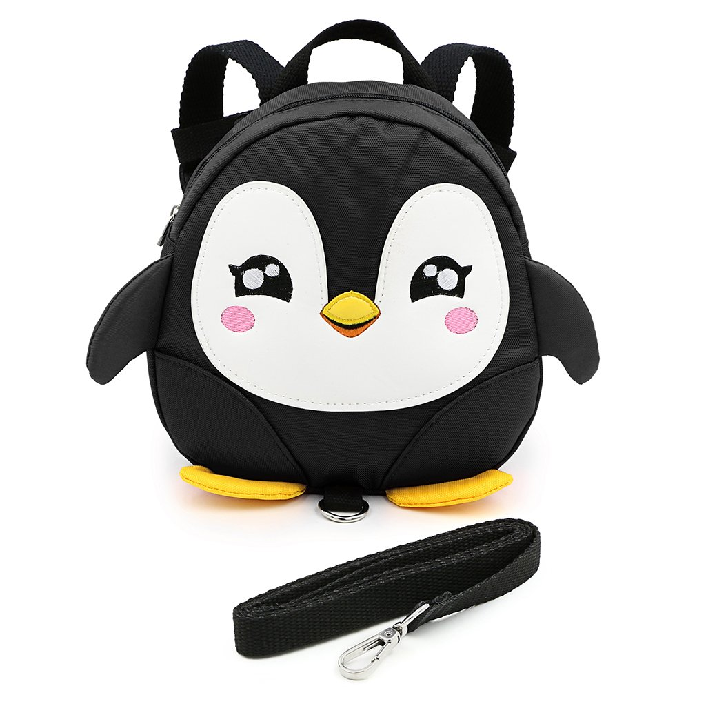Hipiwe Baby Toddler Walking Safety Backpack Little Kid Boys Girls Anti-Lost Travel Bag Harness Reins Cute Cartoon Penguin Mini Backpacks with Safety Leash for Baby 1-3 Years Old (Black)