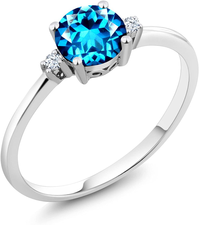 10K White gold 3 Stone Ring Round Kashmir bluee Swarovski Topaz White Created Sapphire (1.03 cttw)