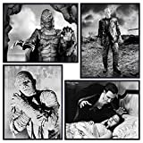 Dracula - Frankenstein - Creature From the Black Lagoon - The Mummy - Scary Movie Wall Art Set - Vintage Horror Movie Poster - Classic Monster Movies Wall Decor - Home Theater Room Decorations
