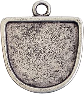 Nunn Design Bezel Pendant, Grande Half Oval 28.5x31.5mm, 1 Piece, Antiqued Silver
